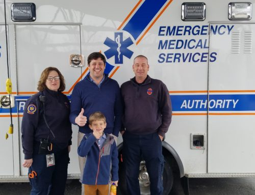 Patient reunites with crew that responded to his emergency
